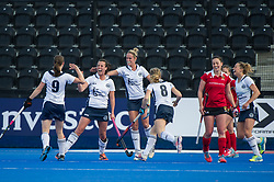 East Grinstead's Bridget Blackwood celebrates scoring. East Grinstead v Holcombe - Semi-Final - Investec Women's Hockey League Finals, Lee Valley Hockey & Tennis Centre, London, UK on 22 April 2017. Photo: Simon Parker