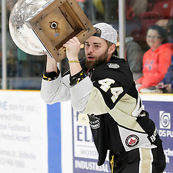 TRENTON, ON  - MAY 6,  2017: Canadian Junior Hockey League, Central Canadian Jr. &quot;A&quot; Championship. The Dudley Hewitt Cup Championship Game between The Trenton Golden Hawks and The Georgetown Raiders. Trenton Golden Hawks during post game celebrations. <br /> (Photo by Amy Deroche / OJHL Images)