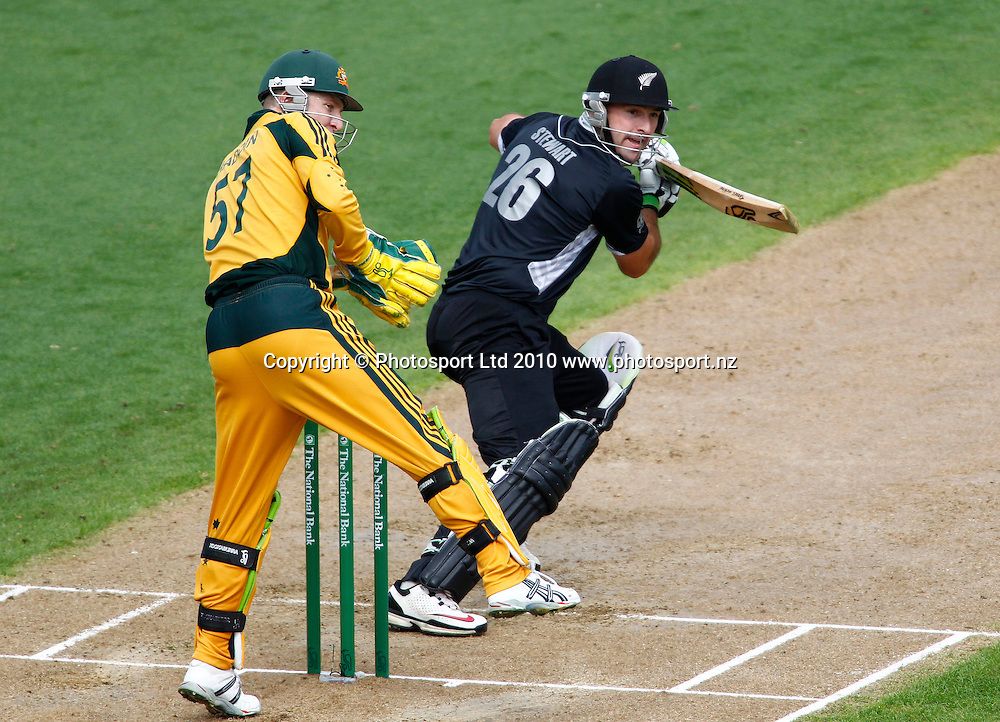 Blackcaps debutant batsman Shanan Stewart. 4th one day international. New Zealand Black Caps versus Australia one day Chappell Hadlee cricket series. Eden Park, Auckland, New Zealand. Thursday 11 March 2010. Photo: Simon Watts/PHOTOSPORT