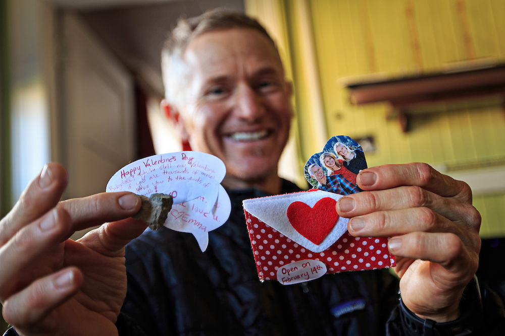 "Jim Easterbrook of NorCal (USA) displays the special messages left by his family in his special Valentine's Day food pack. A note from his wife reads, ""Happy Valentine's Day, Sweetheart. You're still my Valentine (even) if you are thousands of miles away. Love you to the ends of (the) Earth,"""