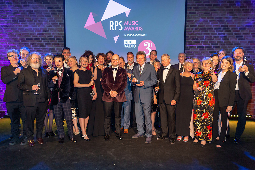 Group shot of <br /> Winners of the RPS Music Awards<br /> Photographed at the RPS Music Awards, London, Tuesday 9 May<br /> Photo credit required:  Simon Jay Price<br /> www.rpsmusicawards.com  #RPSMusicAwards