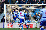 Reading forward Sam Baldock (9) heads towards goal during the EFL Sky Bet Championship match between Millwall and Reading at The Den, London, England on 18 January 2020.