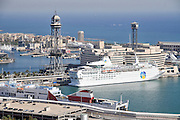 View over the Port of Barcelona from the Castell de Montjuic, Barcelona, Catalunya, Spain
