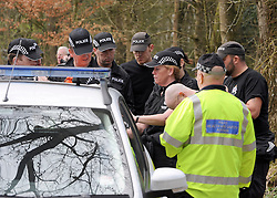 ©London News pictures. 22/03/11.  Police gather round for a briefing. Locals and friends of Sian O'Callaghan help Police in the search in Savernake Wood, Wiltshire, today. Detectives continue investigating the disappearance of office administrator Sian O'Callaghan. The 22-year-old disappeared after leaving Suju nightclub in Swindon at about 2.50am on Saturday to walk the half-mile home to the flat she shared with her boyfriend Kevin Reape. Picture Credit should read Stephen Simpson/LNP