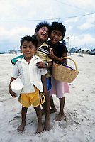 three kids in Belize, Central America