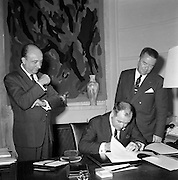 20/07/1967<br /> 07/20/1967<br /> 20 July 1967<br /> Signing of agreement in France for Bord Iascaigh Mhara. Possibly this is related to a deal on the building of fishing vessels in France in return for finance that was announced on the 21st July 1967.