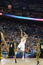 Tennessee Volunteers guard Chris Lofton (5) shoots a three pointer over Long Beach State 49ers guard Louis Darby (2).  The #5 seed Tennessee Volunteers defeated the #12 seed Long Beach State 49ers 121-86  in the first round of the Men's NCAA Tournament in Columbus, OH on March 16, 2007.
