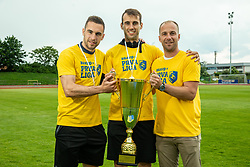 Milan Dzajic, Mustafa Nukic and Rok Hanzic during celebration of NK Bravo, winning team in 2nd Slovenian Football League in season 2018/19 after they qualified to Prva Liga, on May 26th, 2019, in Stadium ZAK, Ljubljana, Slovenia. Photo by Vid Ponikvar / Sportida