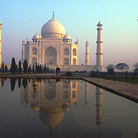 The Taj Mahal, Sunrise, Jamuna River, Agra, India, photograph photography