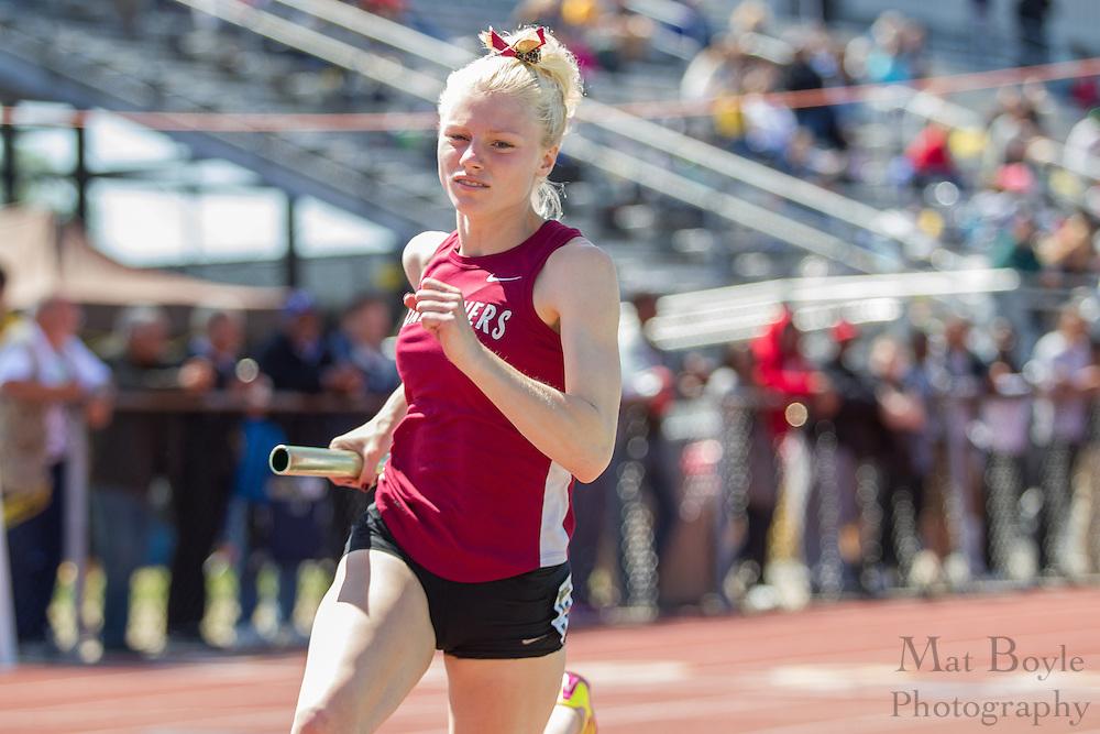 Women's 4 x 400 meter relay at the NJAC Track and Field Championships at Richard Wacker Stadium on the campus of  Rowan University  in Glassboro, NJ on Sunday May 5, 2013. (photo / Mat Boyle)