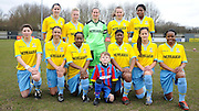 Palace line up for the team photo before the Women's FA Cup match between Charlton Athletic WFC and Crystal Palace LFC at Sporting Club Thamesmead, Thamesmead, United Kingdom on 8 March 2015. Photo by Michael Hulf.