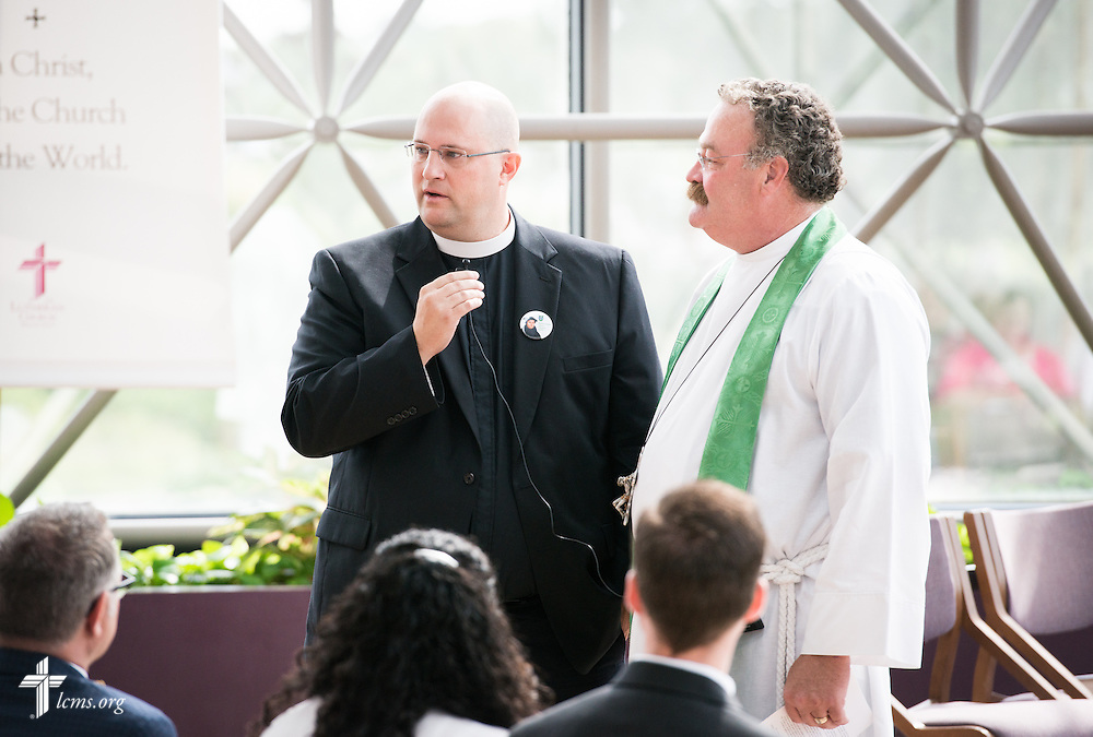 Rev. Marcus Zill, director of Campus Ministry and LCMS U in the Office of National Mission, speaks next to the Rev. Dr. Matthew C. Harrison, president of The Lutheran Church–Missouri Synod, during a Service of Installation in the International Center chapel of The Lutheran Church–Missouri Synod on Wednesday, Sept. 3, 2014, in Kirkwood, Mo. LCMS Communications/Erik M. Lunsford