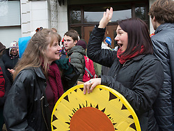 December 9, 2016 - Salem, Oregon, U.S - Plaintiff KELSEY JULIANA, right,  greets University of Oregon Law School professor MARY WOOD outside  the Oregon Court of Appeals in Salem. Juliana filed suit against Oregon Gov. Kate Brown and the state of Oregon for violating her constitutional and public trust rights. The case is seeking a court order to compel the state to take science-based action to address the climate crisis and prevent catastrophic and irreversible impacts. Juliana is also a plaintiff in the landmark federal lawsuit suing the federal government over climate change. (Credit Image: © Robin Loznak via ZUMA Wire)