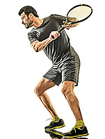 one caucasian mature tennis player man back rear view in studio isolated on white background