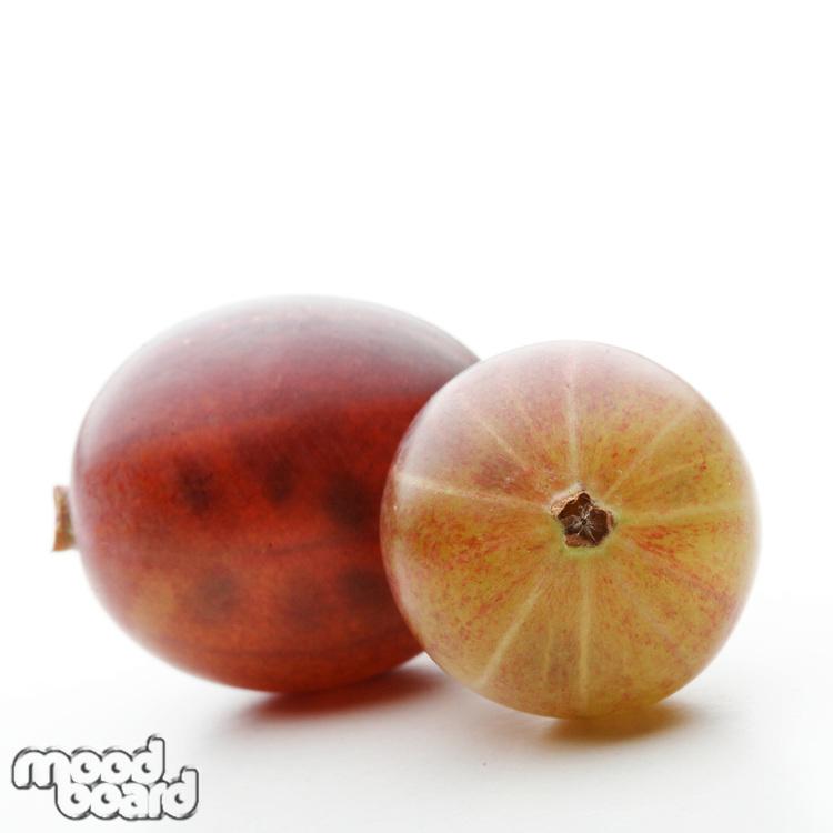Studio shot of gooseberries at white background