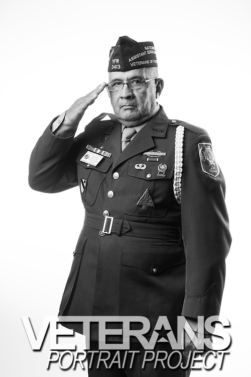 Lonnie Garza<br /> Army<br /> E-6<br /> Infantry<br /> 1966-1967<br /> Vietnam<br /> <br /> Veterans Portrait Project<br /> Louisville, KY<br /> VFW Convention <br /> (Photos by Stacy L. Pearsall)