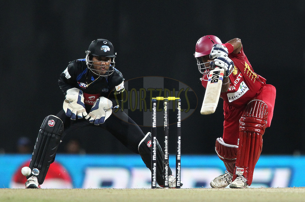 Dilshan Munaweera of Uva Next drives a delivery during the first Semi Final Match of the Sri Lankan Premier League between Uva Next and Wayamba United held at the Premadasa Stadium in Colombo, Sri Lanka on the 28th August 2012. .Photo by Shaun Roy/SPORTZPICS/SLPL