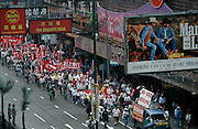 Wanchai. The first pro democracy demo on the first day after the handover.