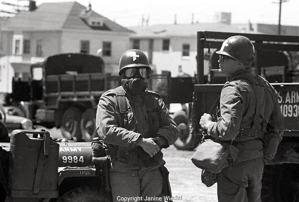 US National guard ready with gas masks take over town  People's Park Student protest & riots in Berkeley California 1969