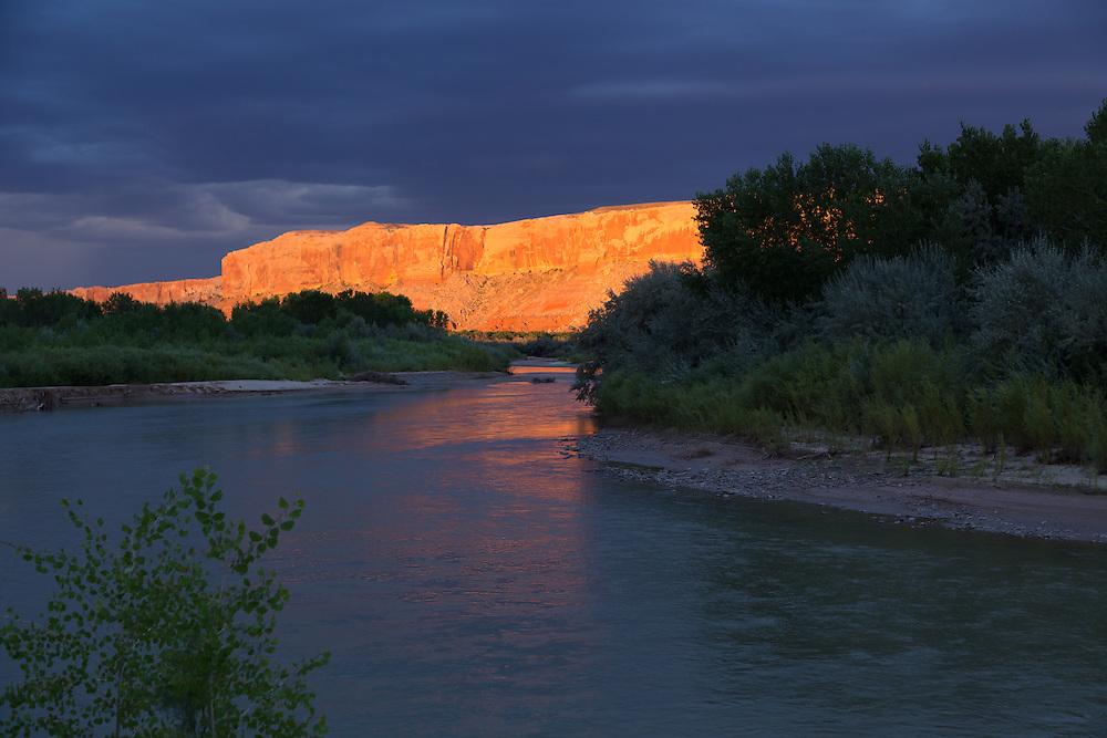 Sunset on the San Juan River, Utah.
