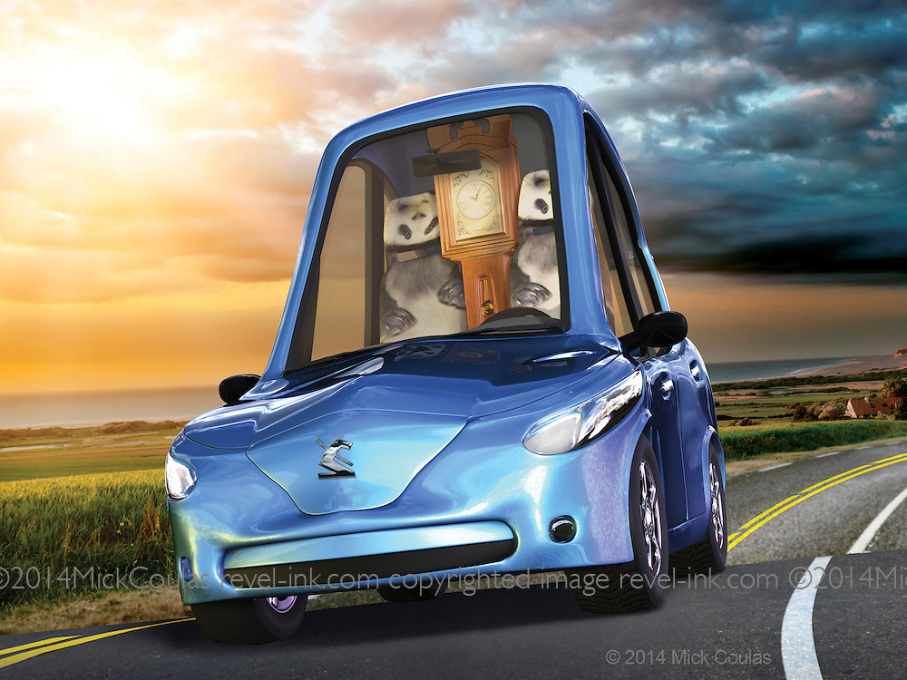 A hybrid Car with great gas mileage and endangered panda upholstery. 5ft long and 8ft tall to accommodate an inboard grandfather clock. 3D for Mad Magazine.