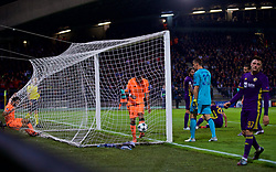 MARIBOR, SLOVENIA - Tuesday, October 17, 2017: Liverpool's Mohamed Salah [L] ends up in the back of the net after scoring the fourth goal during the UEFA Champions League Group E match between NK Maribor and Liverpool at the Stadion Ljudski vrt. (Pic by David Rawcliffe/Propaganda)