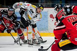 01.03.2016, Ice Rink, Znojmo, CZE, EBEL, HC Orli Znojmo vs Dornbirner Eishockey Club, Viertelfinale, 3. Spiel, im Bild v.l. Martin Podesva (HC Orli Znojmo), Olivier Magnan (Dornbirner) Colton Yellow Horn (HC Orli Znojmo) // during the Erste Bank Icehockey League 3rd quarterfinal match between HC Orli Znojmo and Dornbirner Eishockey Club at the Ice Rink in Znojmo, Czech Republic on 2016/03/01. EXPA Pictures © 2016, PhotoCredit: EXPA/ Rostislav Pfeffer