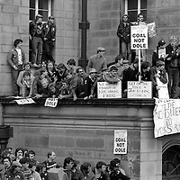 Nottingham Miners waiting outside the NUM Special Delegate Conference being held at the City Hall in Sheffield. 19 April 1984.