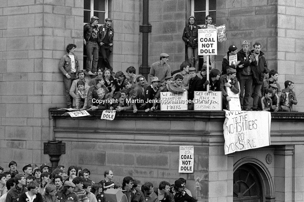 Nottingham Miners waiting outside the NUM Special Delegate Conference being held at the City Hall in Sheffield. 19/04/1984.