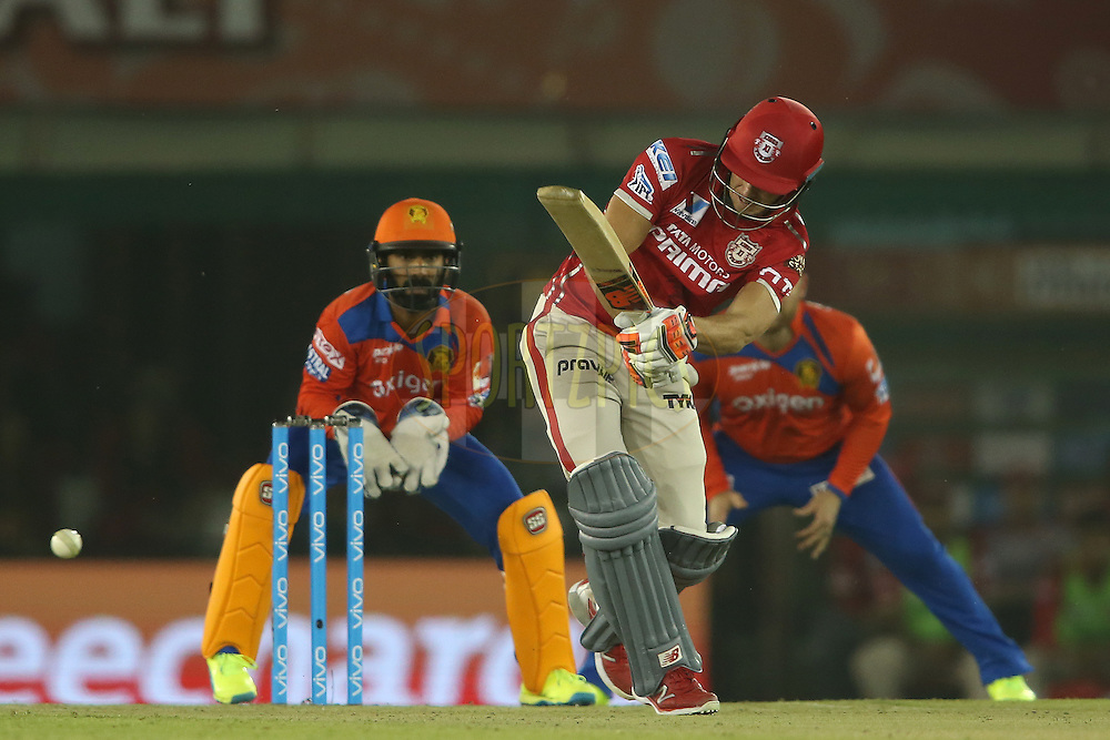 Kings XI Punjab captain David Miller plays a delivery through the leg side during match 3 of the Vivo Indian Premier League (IPL) 2016 between the Kings XI Punjab and the Gujarat Lions held at the IS Bindra Stadium, Mohali, India on the 11th April 2016<br /> <br /> Photo by Shaun Roy/ IPL/ SPORTZPICS