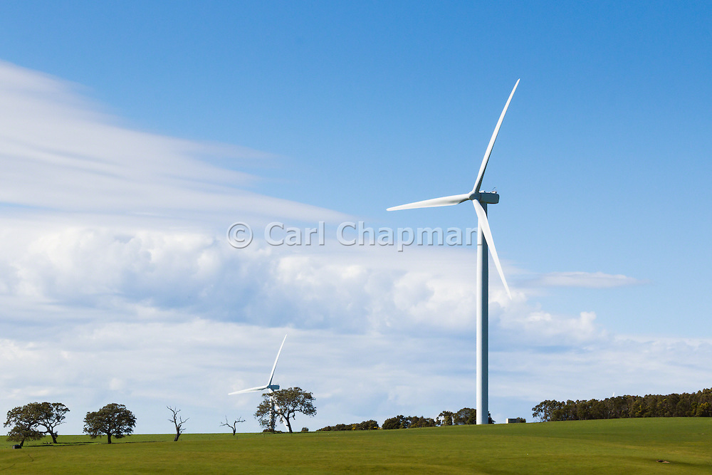 wind turbines from a wind farm in a rural paddock in the countryside near rural Glen Thompson, Victoria, Australia