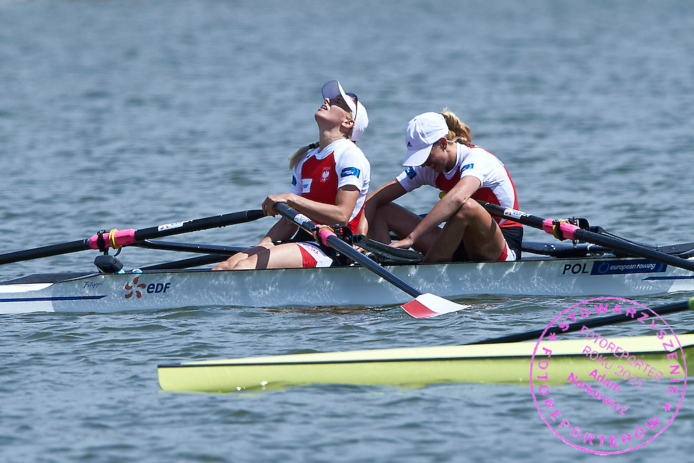 Bronze medalists (bow) Joanna Dorociak and (stroke) Weronika Deresz both from Poland compete at Lightweight Women&rsquo;s Double Sculls (LW2x) Final A during third day the 2015 European Rowing Championships on Malta Lake on May 31, 2015 in Poznan, Poland<br /> Poland, Poznan, May 31, 2015<br /> <br /> Picture also available in RAW (NEF) or TIFF format on special request.<br /> <br /> For editorial use only. Any commercial or promotional use requires permission.<br /> <br /> Mandatory credit:<br /> Photo by &copy; Adam Nurkiewicz / Mediasport