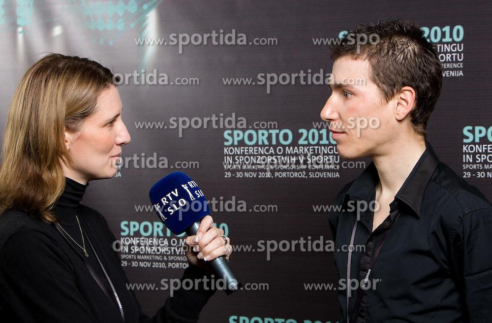 Marjeta Hocevar and Jani Brajkovic, Slovenian rider  during Sporto  2010 - Sports marketing and sponsorship conference, on November 29, 2010 in Hotel Slovenija, Portoroz/Portorose, Slovenia. (Photo By Vid Ponikvar / Sportida.com)