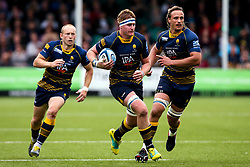 GJ van Velze of Worcester Warriors attacks with Chris Pennell and Anton Bresler of Worcester Warriors - Mandatory by-line: Robbie Stephenson/JMP - 18/05/2019 - RUGBY - Sixways Stadium - Worcester, England - Worcester Warriors v Saracens - Gallagher Premiership Rugby