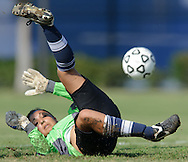 Irvine Valley College freshman goalkeeper Amanda Rashtian makes a save during the Santa Ana Dons' 1-0 victory over Irvine Valley College at Irvine Valley College in Irvine, Calif., on Friday, Sept. 23, 2011.  Photo by Michael Chen/SportsShooter Academy VIII.