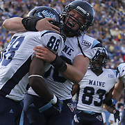 Maine Wide Receiver Damarr Aultman (88) and Tight End Justin Perillo (80) celebrate in the end zone in the second quarter after Aultman scores on a 50 yard pass during a Week 6 NCAA football game against Delaware.