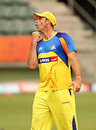 Matthew Hayden of the Chennai Super Kings jokes around during the Superkings training session held at St Georges Park in Port Elizabeth on the 20 September 2010..Photo by: Shaun Roy/SPORTZPICS/CLT20