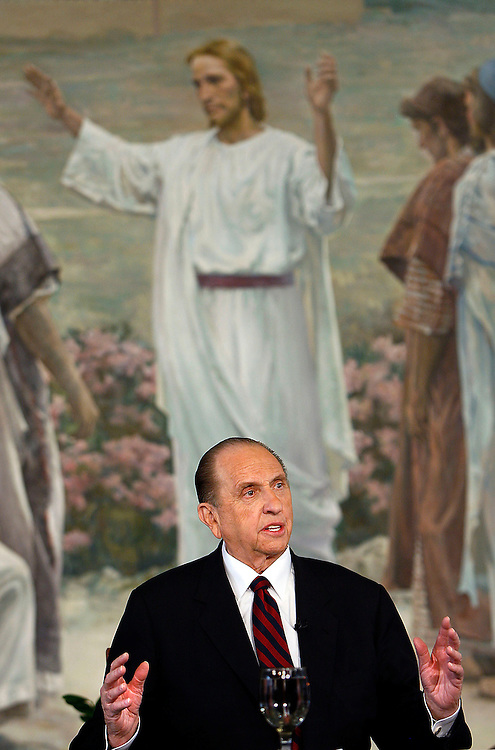 President Thomas S. Monson new president of the Church of Jesus Christ of Latter-day Saints, speaks to the media at the announcement of the new First Presidency of the LDS church. He chose as 1st counselor Henry B. Eyring and 2nd Counselor Dieder F. Uchtdorf. Photo taken at the LDS Church office building in Salt Lake City, Utah Monday Feb. 4, 2008. August Miller/ Deseret Morning News .