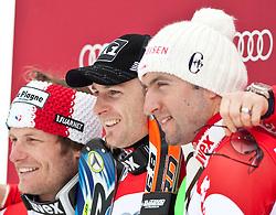 13.03.2010, Goudyberg Herren, Garmisch Partenkirchen, GER, FIS Worldcup Alpin Ski, Garmisch, Men Slalom, im Bild Podium Slalom Weltcup 2009 2010 Herren, v.l. zweitplazierter Lizeroux Julien, ( FRA, #7 ), Ski Dynastar, erstplazierter Herbst Reinfried, ( AUT ), mit der kleinen Kristallkugel und drittplazierte Zurbriggen Silvan, ( SUI ), EXPA Pictures © 2010, PhotoCredit: EXPA/ J. Groder