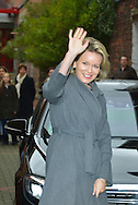 """Queen Mathilde of Belgium during the visit of the school St Guido in Anderlecht who receive the price """"Pesten-dat-kan-niet"""". This visit follows the round table on the problematic of harassment chaired by Queen. Brussels, 01 februari 2016"""