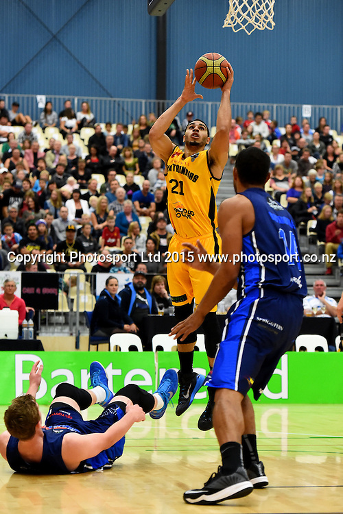 Taranaki player Aaron Fuller during their NBL Basketball game between the Nelson Giants v Taranaki Mountain Airs. Saxton Stadium, Nelson, New Zealand. Saturday 18 April 2015. Copyright Photo: Chris Symes / www.photosport.co.nz