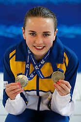 Lois Toulson of City of Leeds Diving Club poses with her Gold Medals after winning the Junior and Senior titles in the Womens 10m Platform Final - Photo mandatory by-line: Rogan Thomson/JMP - 07966 386802 - 21/02/2015 - SPORT - DIVING - Plymouth Life Centre, England - Day 2 - British Gas Diving Championships 2015.