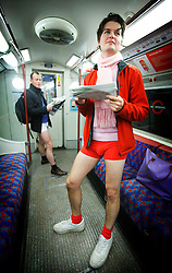 © under license to London News Pictures. 09/01/2011. Around 100 people take part in No Trousers Underground day on Sun 9th Jan. The 2nd Annual No Trousers Tube Ride took place in London as part of a global Improve Everywhere event. No Pants Subway Ride started in New York and is in it's tenth year there. Photo credit should read: Olivia Harris/ London News Pictures© under license to London News Pictures. Around 100 people take part in No Trousers Underground day on Sun 9th Jan. The 2nd Annual No Trousers Tube Ride took place in London as part of a global Improve Everywhere event. No Pants Subway Ride started in New York and is in it's tenth year there. Photo credit should read: Olivia Harris/ London News Pictures