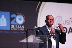 19092018 (Durban) President of Durban Chamber of Commerce & Industry (DCCI) talking about unlocking business opportunities through supporting the SME sector with the delegates at this year's Durban Business Fair celebrates 20 years of hardwork, business excellene and success held at the Durban ICC.<br /> Picture: Motshwari Mofokeng/African News Agency (ANA)