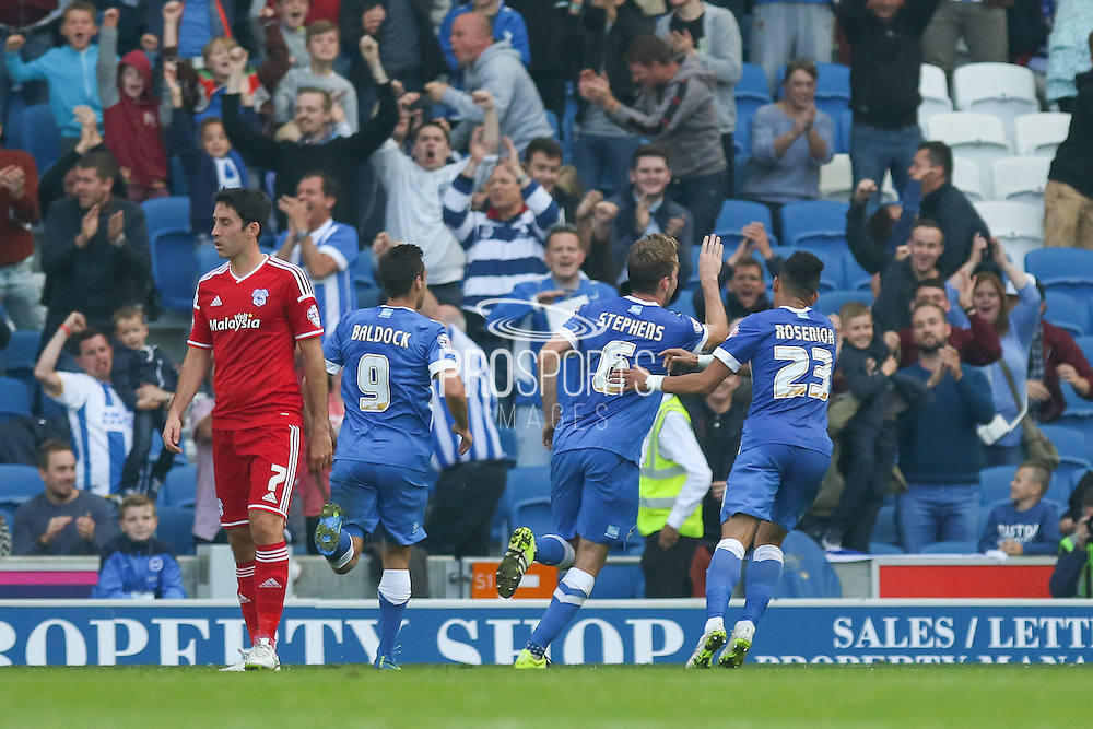 Brighton central midfielder, Dale Stephens celebrates the equalising goal during the Sky Bet Championship match between Brighton and Hove Albion and Cardiff City at the American Express Community Stadium, Brighton and Hove, England on 3 October 2015. Photo by Phil Duncan.