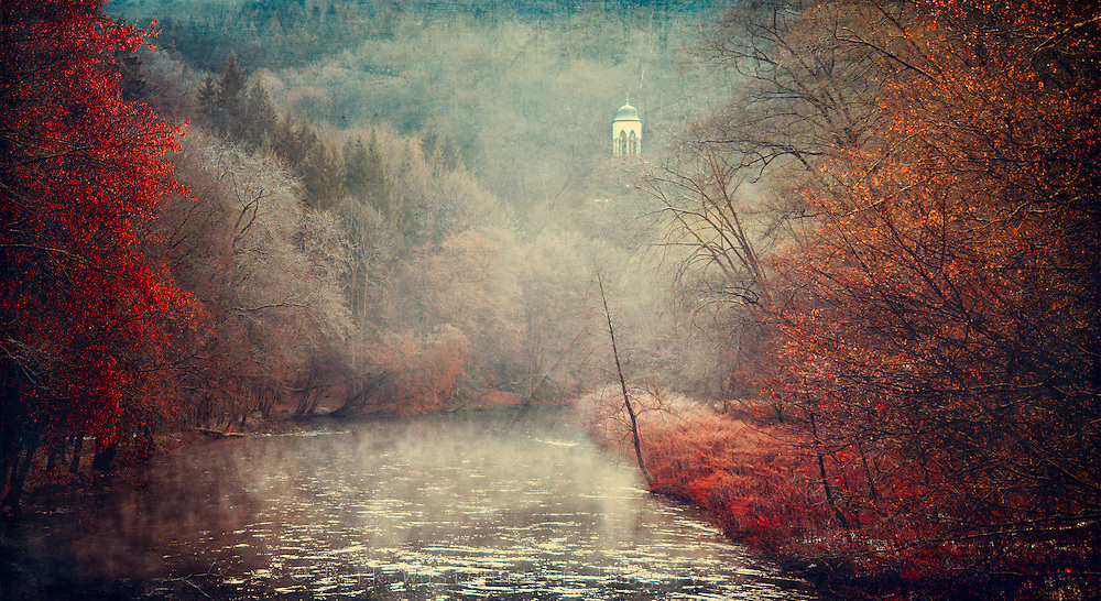 Panorama of river Wupper on a cold winter morning.<br /> Texturized photograph