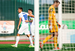 Gašper Koritnik of Celje and Mitja Lotrič of Celje celebrate after scoring during football match between NK Triglav and NK Celje in 7th Round of Prva liga Telekom Slovenije 2019/20, on August 25, 2019 in Sports park, Kranj, Slovenia. Photo by Vid Ponikvar / Sportida