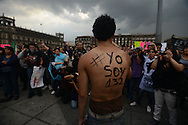 "Mexico City - A member of #YoSoy132--""I am 132""--movement rallies fellow protesters who gathered to demonstrate against what they call ""the imposition"" of PRI candidate Enrique Peña Nieto as the winner of the presidential election. (PHOTO: MIGUEL JUAREZ LUGO)"