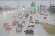 Traffic on I-30 near the George Bush Turnpike where a tornado hit the previous evening in Garland, Texas on December 27, 2015. (Cooper Neill for The New York Times)