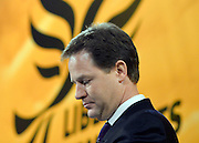 © Licensed to London News Pictures. 10/03/2013. Brighton, UK. Nick Clegg, Liberal Democrat Leader and Deputy Prime Minister delivers his keynote speech to the Liberal Democrat Spring Conference in Brighton today 10th March 2013. Photo credit : Stephen Simpson/LNP